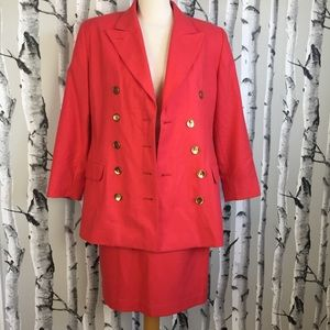 Vintage Coral Double Breasted Wool Suite